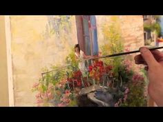 Igor Sakharov: balcony with flowers (artist video tutorial painting drawing lesson)