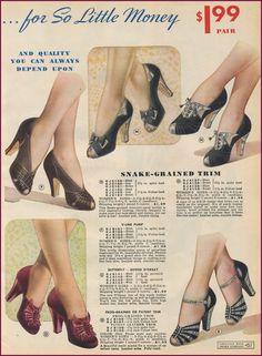 1940-41 shoe print ad heels pumps fancy evening slip on buckle bow black red silver 40s war era WWII
