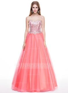 Ball-Gown Sweetheart Floor-Length Tulle Sequined Prom Dress With Beading (018056809)