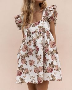 Style:Fashion Pattern Type:Floral Material:Polyester Neckline:Square Neck Sleeve Style:Short Sleeve Length:Mini Occasion:Casual Package Dress Note: There might be difference according to manual measurement.Please check the measurement chart c. Party Dresses For Women, Casual Summer Dresses, Cheap Dresses, Cute Dresses, Dresses With Sleeves, Cotton Summer Dresses, Ladies Dresses, Dress Casual, Trend Fashion