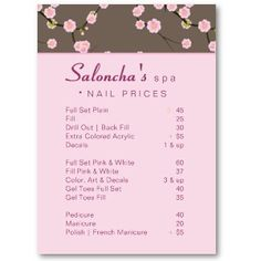 Nail Salon Price List Gifts on Zazzle | price listo | Pinterest ...