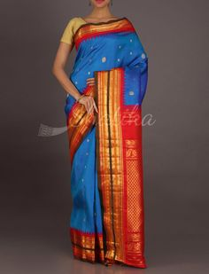 Nandini Broad Multicolor Stripe Border Real Zari #GadwalSilkSaree