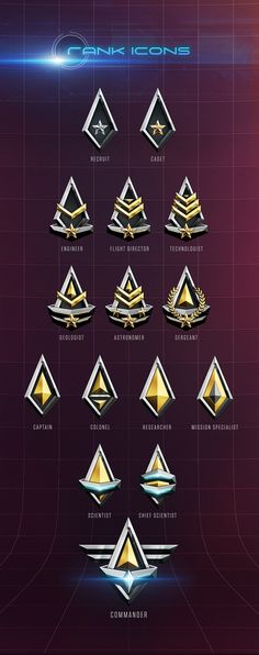 This is a set of rank icons I did for an undisclosed Unity game.