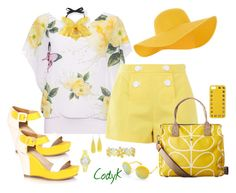 """""""Yellow & White"""" by cody-k ❤ liked on Polyvore featuring WearAll, Boutique Moschino, Orla Kiely, Liz Claiborne, Kate Spade, Gucci, Accessorize, Beauty & The Beach and Valentino"""