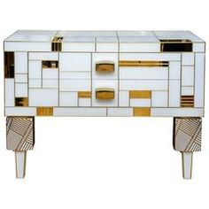Commode in Teinted Glass, Porcelain and Brass, Unique Piece for Justine