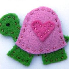 Myrtle the Heart-Shelled Turtle Felt Hair Clip by Clara Clips, via Flickr