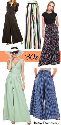1930s wide leg pants, beach pajamas, jumpsuits and palazzo pants at VintageDancer.com