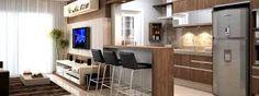Resultado de imagen para bancada cozinha americana Small Apartment Design, Small Apartments, Small Spaces, Flat Interior Design, Tiny Living, Terrazzo, Living Room Decor, Sweet Home, New Homes