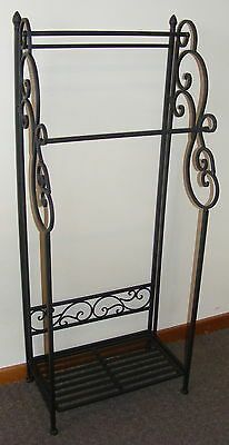 Details About Large Wrought Iron Towel Rack Floor Free Standing Tall With Shelf 2 Rail Ba51 Wrought Iron Wrought Iron Beds Wrought Iron Fences