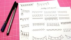 Learn how to draw a variety of buntings, garlands and banners in this Doodle with Me! Perfect for date headers, decoration and random scribbles in your bulle...