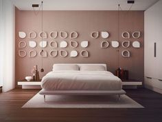 Bedroom: Pink Bedroom Design With Pink Wall Wooden Table Books And Wooden Floor Interior Design