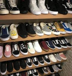 This reminds me of my closet. I have too many pairs of vans lollll 🤠😂 Tenis Vans, Vans Sneakers, Sneakers Fashion, Fashion Shoes, Sock Shoes, Shoes Heels, Cute Vans, Aesthetic Shoes, Aesthetic Black