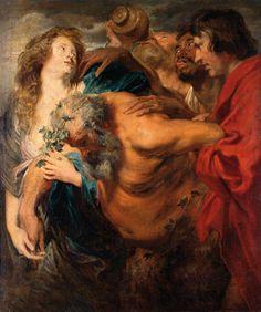 Sileno ebrio, Van Dyck, óleo sobre lienzo, Dresde, Gemäldegalerie Alte Meister der Staatlichen Kunstsammlungen