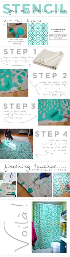 DIY Stencil Your Own Shower Curtain