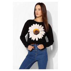 Truly Madly Deeply Daisy Cropped Sweatshirt New without tags. Fits oversized, no longer sold in stores or online! Urban Outfitters Tops Sweatshirts & Hoodies