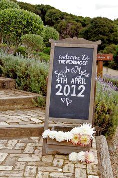 Good blackboard placement at Mudbrick Wedding Places, Wedding Signs, Wedding Ceremony, Wedding Venues, Blackboard Wedding, Chalkboard Decor, Chalkboard Sayings, Beach Wedding Decorations, Ceremony Decorations