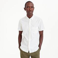Stretch short-sleeve American Pima cotton oxford shirt in white