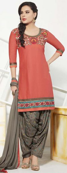 Readymade punjabi style 3 piece patiala suit. Rust Patiala Suit with matching gray salwar and gray dupatta. <br />Sleeves: 1/2 <br />Size = XL - 44''