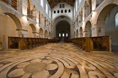 """Labyrinth at Church of Abbaye, Notre-Dame de Saint-Remy Rochefort"""