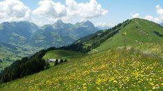 high alpine trail from rinderberg to schönried, switzerland