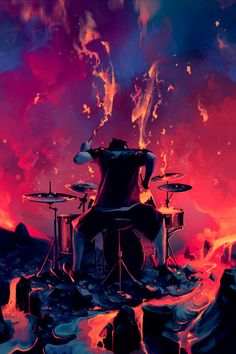 yup, this one sure fits my DRUMMER DRUMMING board! - cSw:) - https://www.pinterest.com/claxtonw/drummer-drumming/ - Really great modern art painting of a drummer playing on fire! Purple, pink, red painting pinned via zenAesthetic. Photo source: doughnutstime.