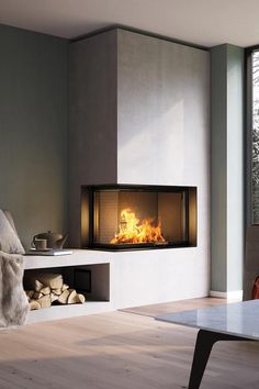 NEUHEIT VISIO 2 L Kamineinsatz Premium class is not only evident in the VISIO 2 L with the beautiful fire. This claim is also evident in the precise and stable processing and the unique firebox Home Fireplace, Fireplace Design, Corner Fireplaces, Fireplace Glass, Living Room Designs, Living Room Decor, Fireplace Inserts, Home And Living, Sweet Home