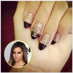 If you want to try something new, something interesting for your nails then is time to try pointed nails. Pointed nails are very popular with the Sexy Nails, Love Nails, Fun Nails, Pretty Nails, Glitter Nails, Gold Glitter, Black Nails, Chic Nails, Sparkle Nails
