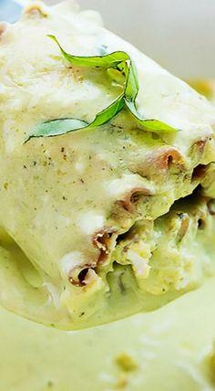 Creamy Pesto Chicken Lasagna Rolls