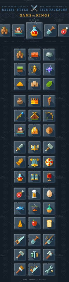 Check out 45 Relief game icons, original flat by OlegBeresnev on Creative Market