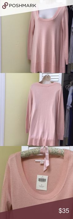 Boston Proper Tunic BP Tunic in small. BP runs large so more like medium. pretty blush color to wear over leggings. Will shrink up some if put in dryer...I have XS in black...showing as M...very unusual for BP...but would be too large for small. Boston Proper Tops