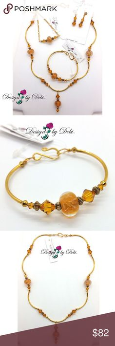"""Caramel Swirled Glass & Crystal 4pce Set Gold Caramel Swirled Glass & Topaz Crystal Gold Necklace, Fitted Bangle, Earrings & Anklet Set - Handmade by Me  Made with: • caramel/white swirled glass beads • Swarovski crystal topaz bicone beads • gold plated beads, leverbacks, chain & findings • bracelet made on gold jewelry wire • necklace strung on the strongest 49-strand jewelry wire  Necklace: 19"""" Bracelet: 7.25"""" & will best fit a 6.25"""" or smaller wrist Earrings: 1 5/8"""" Anklet: 10.5""""  ❌ NO…"""