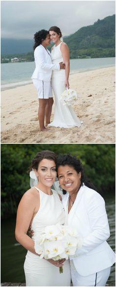 Beach wedding fashion, Hawaii wedding, wedding bouquet of white orchids, modern wedding dress, casual all-white suit // Rachel Robertson Photography