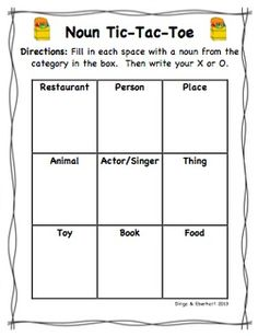 Noun tic tac toe - could also be used for adjectives & verbs Noun Games, Grammar Games, Grammar Activities, Speech Therapy Activities, Classroom Activities, Classroom Ideas, Basic Grammar, Grammar And Punctuation, Abc School
