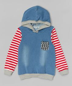 Blue & Red Stripe Hoodie - Infant, Toddler & Kids by Leighton Alexander #zulily #zulilyfinds