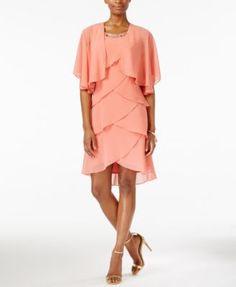 SL Fashions Sleeveless Embellished Tiered Dress & Shrug | macys.com