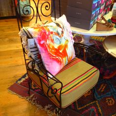 Wrought iron chair with custom made cushions