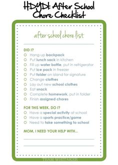 After School Checklist: a good idea for when they're a bit older.