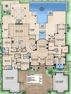 Impressive Features Floor Master Suite Butler Walkin Pantry CAD Available DenOfficeLibraryStudy Luxury MBR Sitting Area Mediterranean PDF Split Bedrooms Ar. Luxury House Plans, Dream House Plans, House Floor Plans, My Dream Home, Luxury Floor Plans, Large House Plans, 4000 Sq Ft House Plans, 6 Bedroom House Plans, Unique Floor Plans