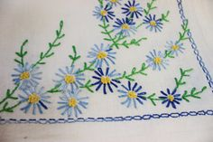 Blue and White Vintage Hand Embroidered Linen by BellaVitaVintage