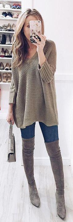 #winter #fashion /  Olive V-neck Sweater / Navy Skinny Jeans / Grey Velvet OTK Boots
