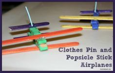 Airplane Crafts for Kids using clothes pins and popsicle sticks #transportation