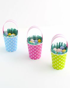 Paper cups and decorative papers can be turned into a sweet Easter basket to hold candy and dinner place settings.