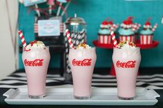 Milkshakes from a Retro Soda Shoppe Birthday Party via Kara's Party Ideas - The Place for All Things Party! KarasPartyIdeas.com (58)