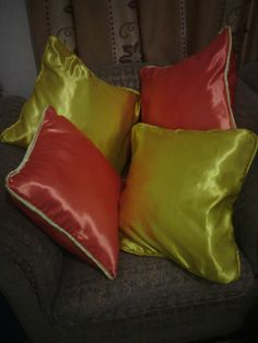 Colorful throw pillows.