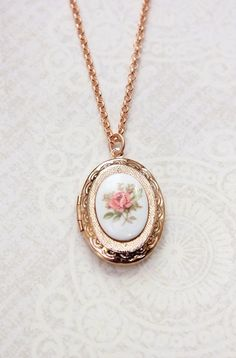 Rose Gold Locket Necklace ~ Bridesmaids Gift for a modern romantic wedding