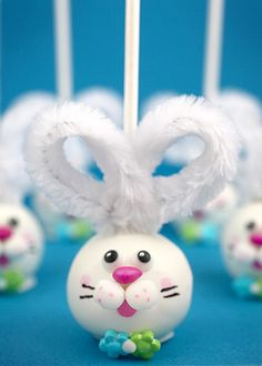 Bunny Cake pops with pipe cleaner ears!