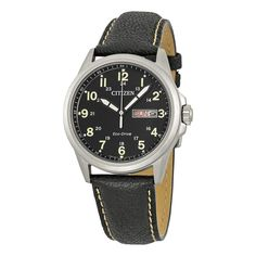Citizen Military Eco-Drive Black Dial Black Leather Quartz Mens Watch in Jewelry & Watches, Watches, Parts & Accessories, Wristwatches Citizen Watch, Vintage Watches For Men, Casual Watches, Stainless Steel Case, Bracelet Watch, Jewelry Watches, Fashion Jewelry, Black Leather, Quartz