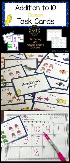Addition to 10 | Math Center | Task Cards | Write the Room | Count the Room | Scoot | Kindergarten | First Grade
