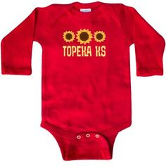 Inktastic Topeka Kansas Sunflower State Long Sleeve Creeper Sunflowers Pride Home Hometown Cities City Travel Cute Hws, Infant Girl's, Size: Newborn, Red