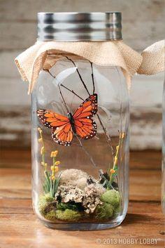 más y más manualidades: Crea bellos adornos de mariposas en frascos